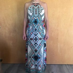 Geometric Print Halter Maxi Dress